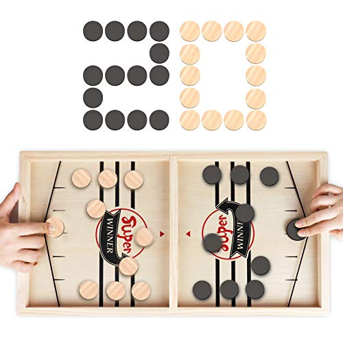 Fast Sling Puck Game RegeMoudal Wooden Hockey Table Game Table Battle Game for Kids and Adults Foosball Winner Board Games for Family Birthday Gift(22 in x 118 in)