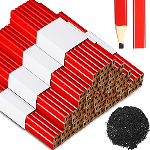 120 Pieces Carpenter Pencils Flat Wood Octagonal Lead Pencils Red Hard Black Lead Pencils Wood Cased Pencils for Home Office School Supplies