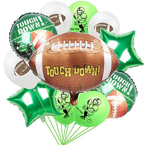 16PCS Football Party Decorations Foil and Latex Balloons  Football/Sport Game Birthday Party Supplies Favors