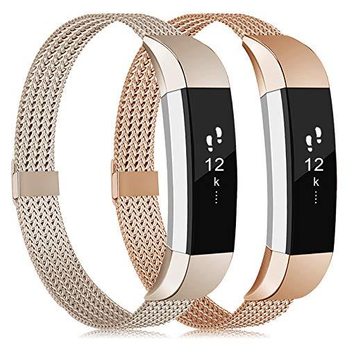Tobheo Compatibile per Fitbit Alta HR Cinturino/Alta/Ace Cinturini in Matallo Braccialetto Oro Rosa,Champagne Eleganti Acciaio Band (nessun Tracker),S