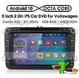 hizpo Android 10 Autoradio Lecteur DVD GPS Can-Bus Mirrorlink Bluetooth OBD2 8 Pouces Caméra de...