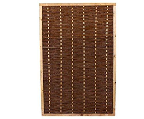 bambus-discount.com Weidenzaun Element Mia mit 180x120cm in Premium Qualität, gekochte Weide, Holz gebeizt