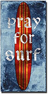 Pray For Surf, Surfboard by Charlie Carter Custom Gallery-Wrapped Canvas Giclee Art (Ready to Hang)