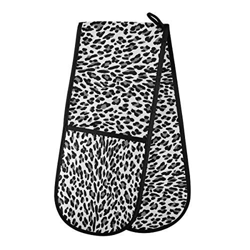 F17 - Guanti da forno doppi, motivo leopardato con stampa animale, guanti resistenti al calore, 88,9 x 17,8 cm, per cottura e grigliate