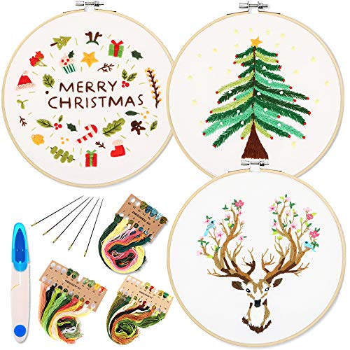 3 Pack Embroidery Starter Kit with Christmas Tree Reindeer Pattern and Instructions, Full Range of Stamped Embroidery Kits with 3 Embroidery Clothes, 1 Embroidery Hoops