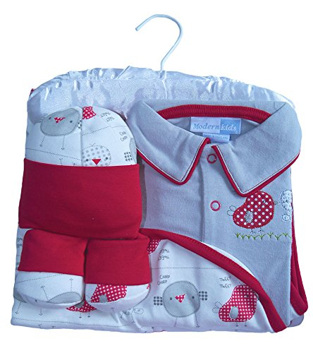 """Beau Bébé–Juego de bebé Set de regalo con""""Piolín el pájaro"""" bordado y Appliqué en color gris, rojo y blanco. rojo rosso Talla:0-3months"""