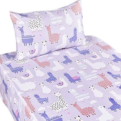 J-pinno Butterfly Twin Sheet Set Bedroom Decoration Gift, 100% Cotton, Flat Sheet + Fitted Sheet + Pillowcase Bedding Set