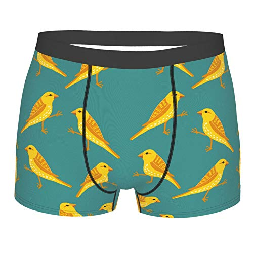 Yellow Canary Bird Men's Boxer Brief Underwear with Flex Waistband