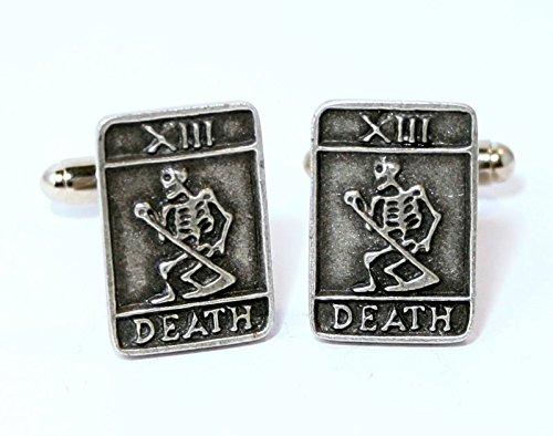 Boutons de Manchette Death Carte de Tarot avec Boîte à Cadeau