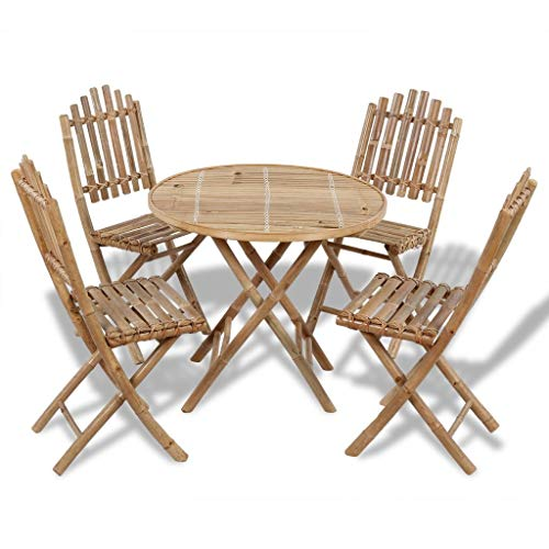 Festnight 5-delige Tuinset inklapbaar Eettafel en stoelen Set Modern Kitchen Outdoor Table Set voor woonkamer/kantoormeubilair/tuin/buiten bamboe