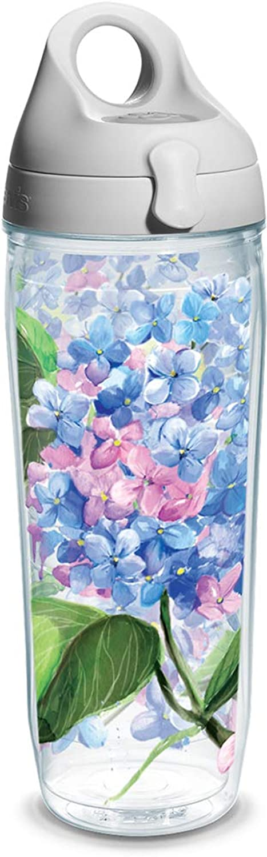 Tervis Hydrangeas Wrap Water Bottle with Grey Lid, 24Ounce, Garden Party
