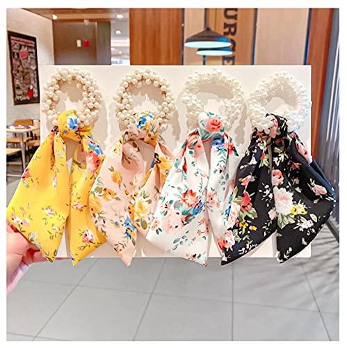 4 unids Mujeres Perlas Corbatas De Pelo Cinta De Moda Coletero Niñas Cola De Caballo Arco De Goma De La Banda Accesorios Para El Cabello