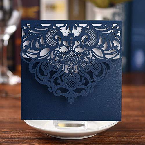 Brand Set 20 Stücke Hochzeit Einladungskarten Spitze Lasercut Mit Hohlen Geprägte Flora Einladung Cardstock Hochzeitseinladungen für Bridal Shower Umschläge (Einladung Karte 20pcs)-Gold