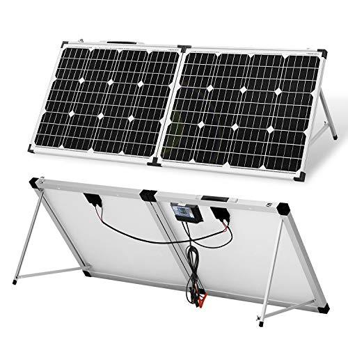 DOKIO Faltbares mobiles Solar-Panel 100 Watt mit monokristallinen Zellen, Integrierter 12-Volt-Laderegler und 2 USB-Port
