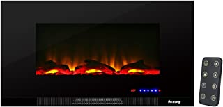 e-Flame USA Livingston 36-inch Wall Mount LED 3-D Electric Fireplace Stove with Timer and Remote - 3-D Log and Fire Effect
