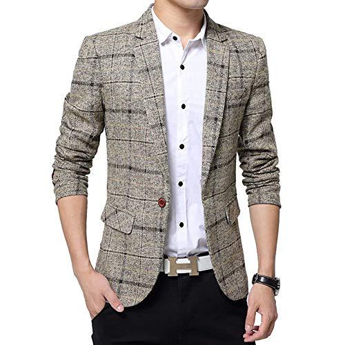 Saoye Fashion Chaqueta De Algodón A Cuadros para Hombres Chaqueta De Tweed Abrigo Ropa Elegante Formal Chaqueta Informal para Hombres De Negocios (Color : Khaki, Size : L)