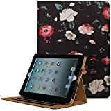 JYtrend iPad 2 /iPad 3 /iPad 4 Case, Multi-Angle Viewing Stand Leather Folio Smart Cover with Pocket, Auto Wake Up/Sleep for Model A1395 A1396 A1397 A1403 A1416 A1430 A1458 A1459 A1460 (Black/Flower)