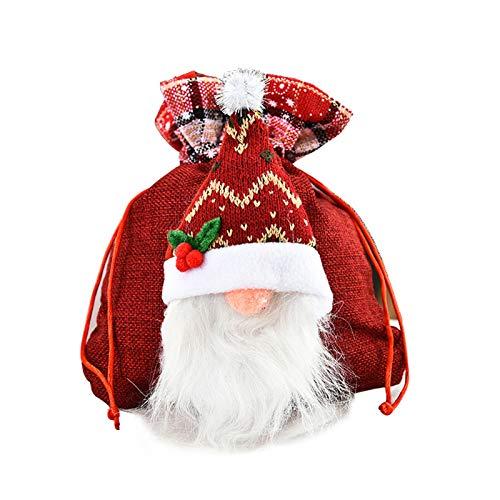 WDFVGEE Navidad 3D sueco Papá Noel gnomo bolsas de dulces decoraciones de Navidad regalos de Año Nuevo Significa una familia feliz afortunada