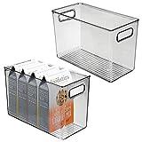 mDesign Juego de 2 fiambreras para el frigorífico – Cajas de plástico para guardar alimentos – Organizador de nevera para lácteos, frutas y otros alimentos – gris oscuro