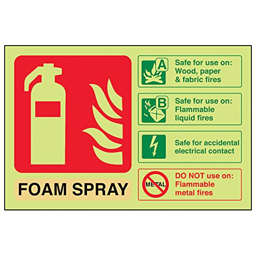 VSafety Glow In The Dark Foam Spray Id Elektrische Brandblusser - 150mm x 100mm - Rigid Plastic