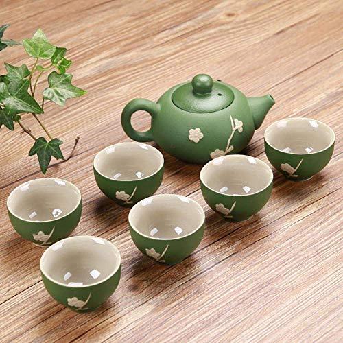 Keramische In reliëf Kung Fu Tea Set Theepot Theekopje gebruik for Tea Room theetafel Chinese Thee Gifts Zen Tea Gereedschap Met doos, LCC 7Pcs Set, Seven-delige set LMMS