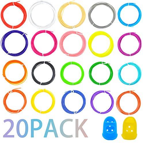 Jsdoin 3D 1.75mm PLA Printer Filament, PLA Filament Pack,20 Color 320...
