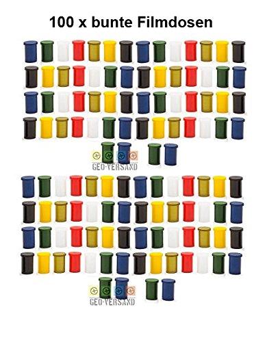 100 x Filmdose bunt -3,2 cm x 4,8 cm Geo-Versand Geocaching Versteck mit Deckel - Filmdosen Schule basteln aufbewahren rascheldosen, Kleinteildose - Film cannister