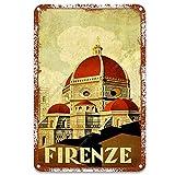 NNHG Firenze Letreros de lata estilo retro vintage decorativo de hierro para barra decoración de pared de acuario 20,3 x 30,5 cm
