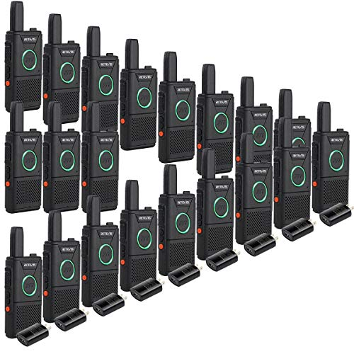Retevis RT18 2 Way Radios Business Walkie Talkies for Adults Rechargeable with Dual PTT Metal Clip Ring Indicator Light(20 Pack Walkie Talkies)
