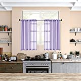 MRTREES Sheer Tier Curtains 36 inch Length Lilac Kitchen Curtain Sheers Short Transparent Voile Small Window Curtain Panels Bathroom Rod Pocket Light Filtering Light Purple 2 Panels