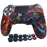 PS4 Controller-Hülle Silikon RALAN, Silikongel Controller Abdeckung Hautschutz für PS4 / PS4 Slim / PS4 Pro Controller (Schwarz Pro Daumengriff x 8, Katze + Schädelkappenabdeckung Griff x 2)