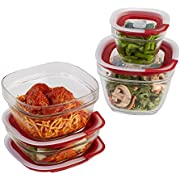 Rubbermaid Easy Find Lids Glass Food Storage and Meal Prep Containers, Set of 4 (8 Pieces Total), Racer Red