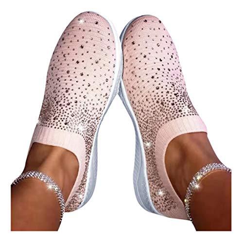 Allence Damen Tuch Schuhe Mode Sportschuhe Sommer Espadrilles Fitness Atmungsaktiv Sneakers Atmungsaktiv Turnschuhe Sandalen Paar Bunte Schwarz Weiße Rosa Schuhe (40, Rosa)
