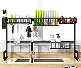 Y-Step Égouttoir à vaisselle sur évier Étagère égouttoir pour fournitures de cuisine, comptoir, organiseur d'ustensiles en acier inoxydable Support de rangement pour cuisine en acier inoxydable