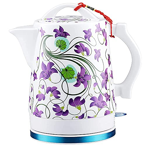 GPWDSN 1.7L Hervidor eléctrico de cerámica Anti-escaldamiento Diseño 100% acero inoxidable doble pared agua caliente hervidor para té y café avena Auto apagado