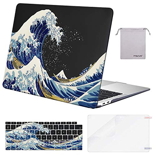 MOSISO MacBook Air 13 inch Case 2020 2019 2018 A2337 M1 A2179 A1932, Plastic Hard Shell&Keyboard Cover&Screen Protector&Storage Bag Compatible with MacBook Air 13 inch Retina, Sea Wave Black Base