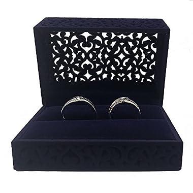 DesignSter Hollow Royal Blue Velvet Ring Box - Couple Double Ring Bearer Box for Wedding, Engagement Gift Favor (ring box)