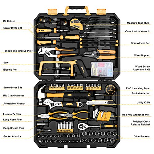 DEKOPRO 198 Piece Home Repair Tool Kit, General Household Hand Tool Set with Wrench Plastic Toolbox