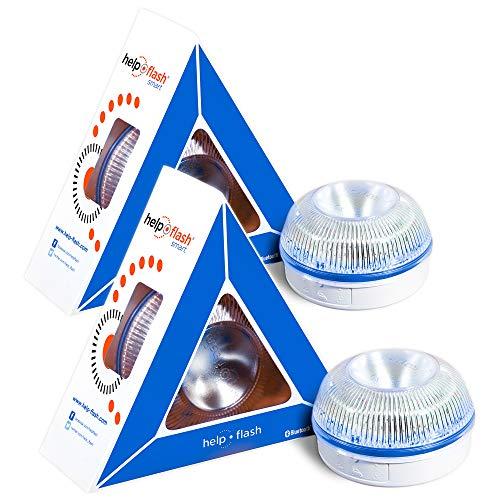 HELP FLASH SMART PK2750 2X luz Emergencia AUTÓNOMA, señal v16 preseñalización Peligro+Linterna, homologada, DGT, Base imantada, activación AUTOMÁTICA, Hecho en España, Amarillo auto