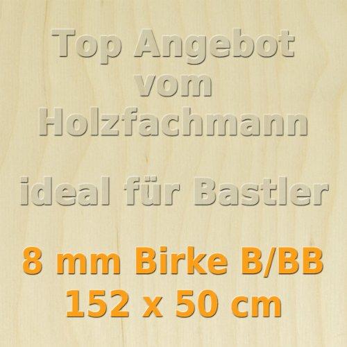 PiHaMi® 8mm Birke Sperrholzplatte Qualität B/BB (152 x 50cm) GP 27,49 €/m²