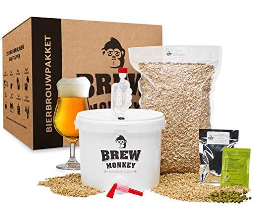 Brew Monkey® Basis Tripel bierbrouwpakket | bierbrouwset startpakket om zelf bier te brouwen in je eigen keuken | met verse ingrediënten | herbruikbare vergistingsemmer | origineel cadeau!