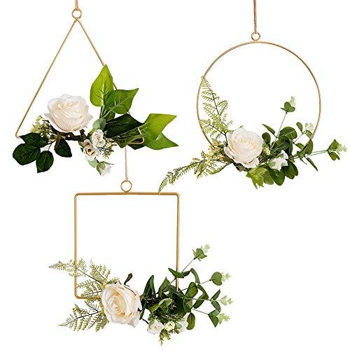 Feelava Metallblumenreifen, 3 Stück, Wandbehang Blumenreifen, geometrische Kranz, künstliche Rosen Blumenkranz Metall, rund, Dreieck, quadratischer Kranz für Hochzeit, Wand, Heimdekoration