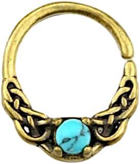 CHICNET Piercing universale per orecchio, naso, ottone anticato, oro, turchese, pietra celtica, nodo celtico, modello Nost...