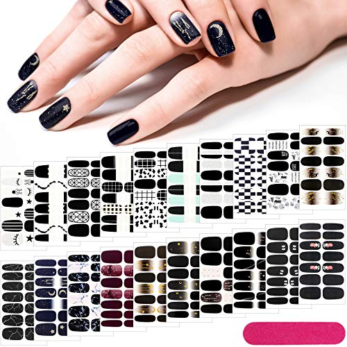20 Sheets 280 Pieces Black Nail Wraps Self-Adhesive Full Cover Nail Art Decals Nail Polish Stickers False Nail Decals Manicure Stickers with 2 Pieces Nail Files for Girls Women (Chic Style)