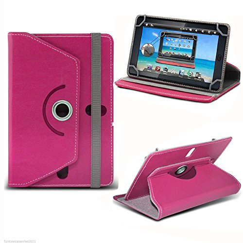 Pink Universal 7 Inch Premium PU Leather Folio Style Flip Wallet Case Cover Holder With Stand For Versus Touchpad 7', Fusion 5 7' RAPID5 ECO, Fusion 5 7' RAPIDS SKITTLE KID, Dragon Touch Y88X 7', Acer Iconia B1 7', iPad Mini 1 2 3 (Pink)