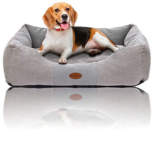 Muawo Premium Hundebett für kleine, mittlere und Grosse Hunde. Geschenke für Hundebesitzer, Hundeliebhaber und Hundehalter. Rutschfestes Hundekörbchen, robust und gemütlich (L 80 x 65 x 20, Grau)