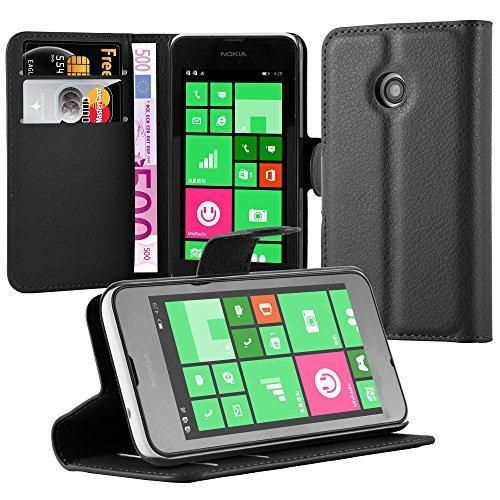 Cadorabo Hülle für Nokia Lumia 530 - Hülle in Phantom SCHWARZ – Handyhülle mit Kartenfach & Standfunktion - Case Cover Schutzhülle Etui Tasche Book Klapp Style