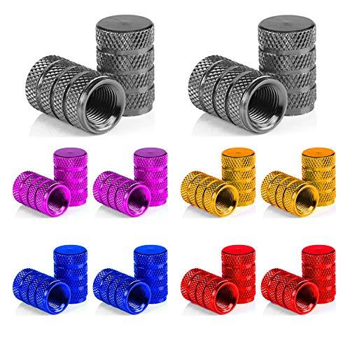 Senven 20 Pcs hochwertige Farbe Aluminium Ventilkappen, Reifenventil Staubkappen Auto, Motorrad, Lkw, Fahrrad verhindern Luftleckage - Universal-Reifenventilkappen, Aluminium