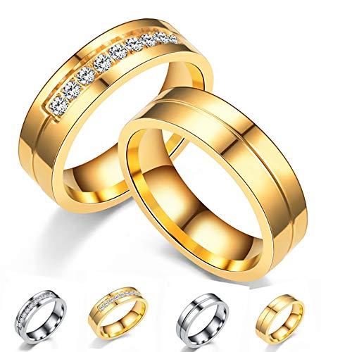 LONG-D Titan Stahl Zirkon Ring Edelstahl Diamant Paar Ring,A,12 = 22 mm