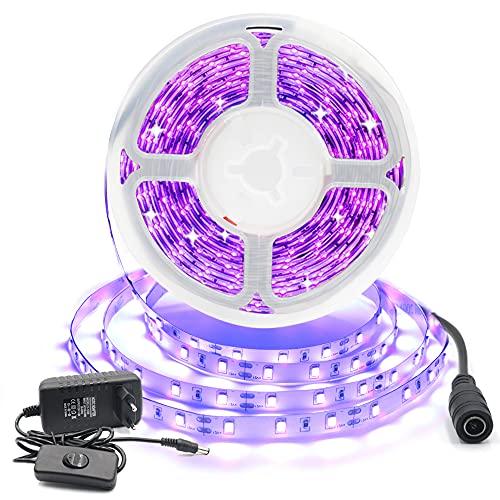 Arotelicht 12V Kit de Tira LED flexible UV 5M 300leds IP20 con alimentator/transformator luz negra Tira de luz fluorescente de neón para iluminación de escenario de fiesta de baile fluorescente